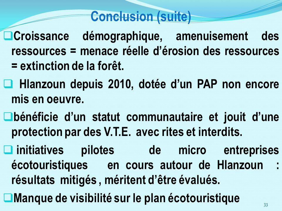 Conclusion (suite) Croissance démographique, amenuisement des ressources = menace réelle dérosion des ressources = extinction de la forêt. Hlanzoun de