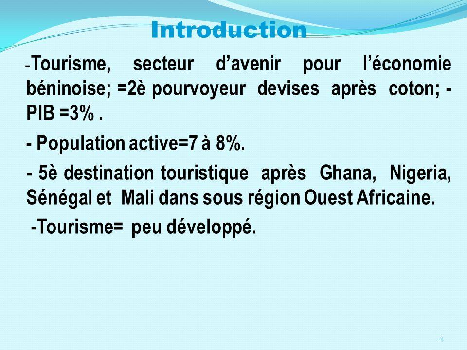 Introduction - Tourisme, secteur davenir pour léconomie béninoise; =2è pourvoyeur devises après coton; - PIB =3%. - Population active=7 à 8%. - 5è des