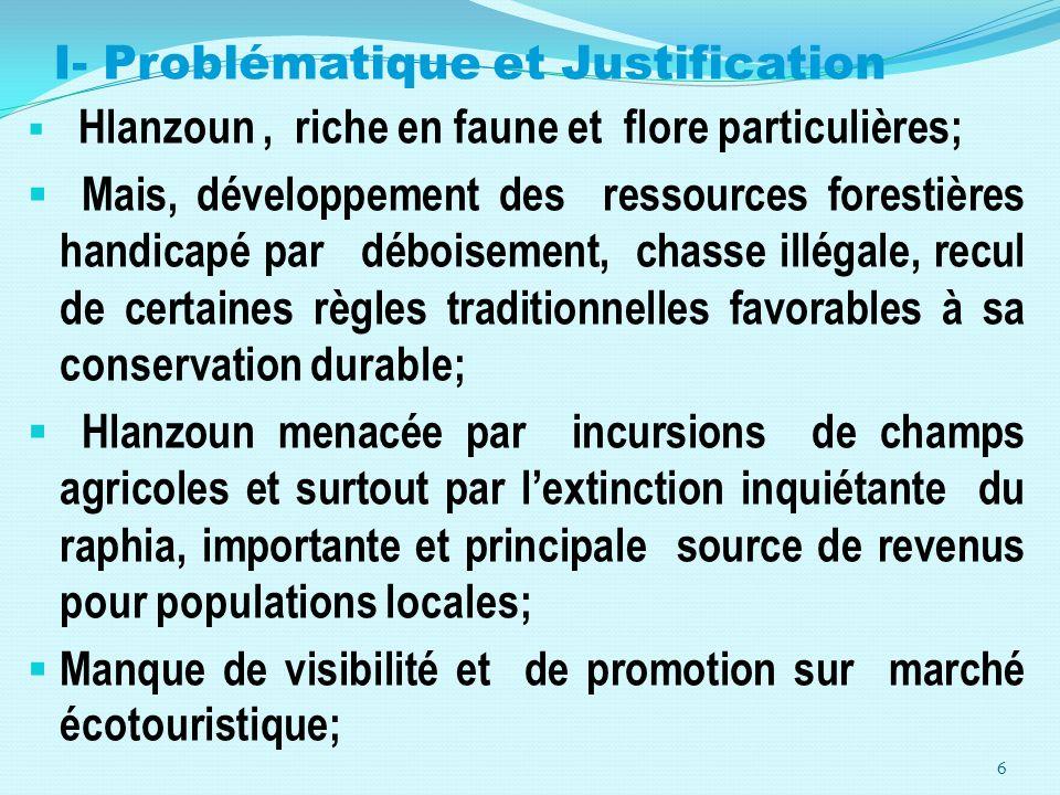I- Problématique et Justification Hlanzoun, riche en faune et flore particulières; Mais, développement des ressources forestières handicapé par débois