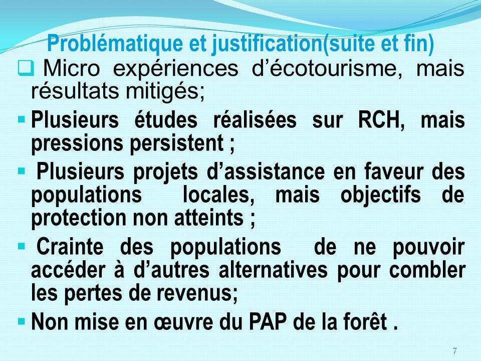 Problématique et justification(suite et fin) Micro expériences décotourisme, mais résultats mitigés; Plusieurs études réalisées sur RCH, mais pression