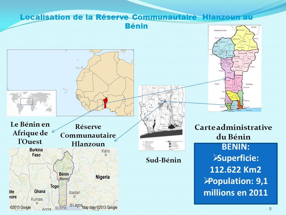 Réserve Communautaire Hlanzoun Sud-Bénin Carte administrative du Bénin Le Bénin en Afrique de lOuest Localisation de la Réserve Communautaire Hlanzoun