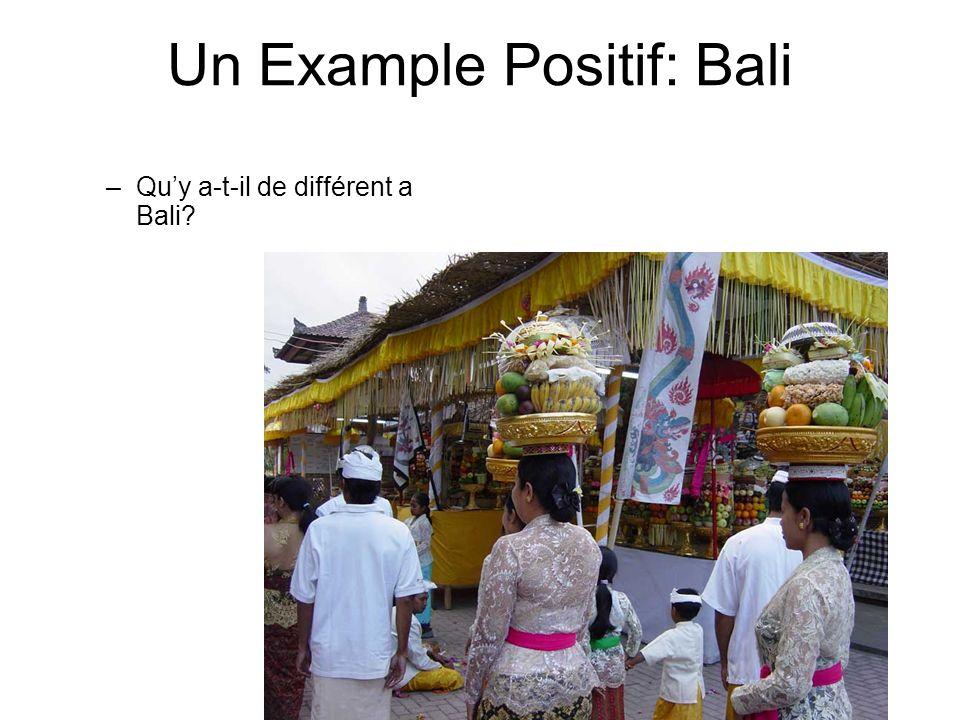 Un Example Positif: Bali –Quy a-t-il de différent a Bali?