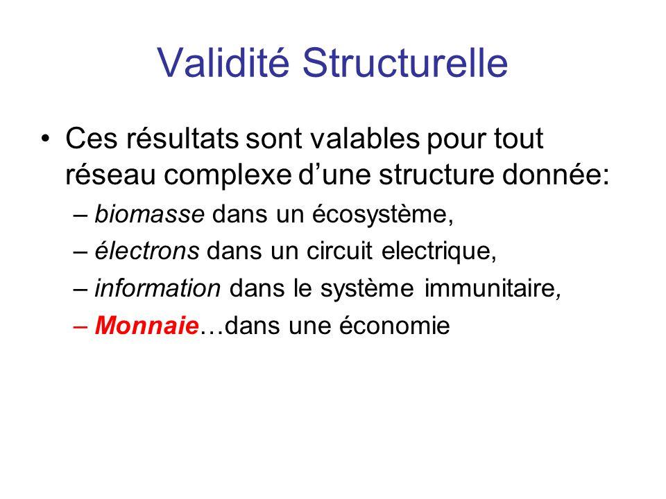 Validité Structurelle Ces résultats sont valables pour tout réseau complexe dune structure donnée: –biomasse dans un écosystème, –électrons dans un ci