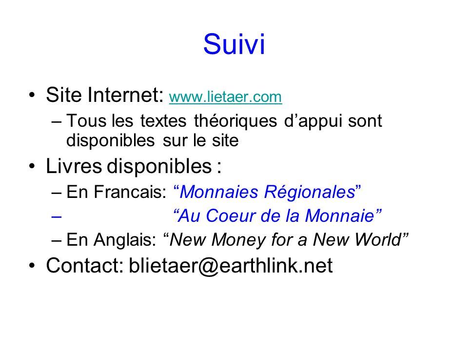 Suivi Site Internet: www.lietaer.com www.lietaer.com –Tous les textes théoriques dappui sont disponibles sur le site Livres disponibles : –En Francais