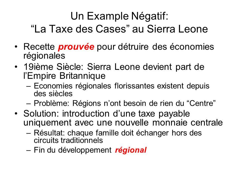 Un Example Négatif: La Taxe des Cases au Sierra Leone Recette prouvée pour détruire des économies régionales 19ième Siècle: Sierra Leone devient part