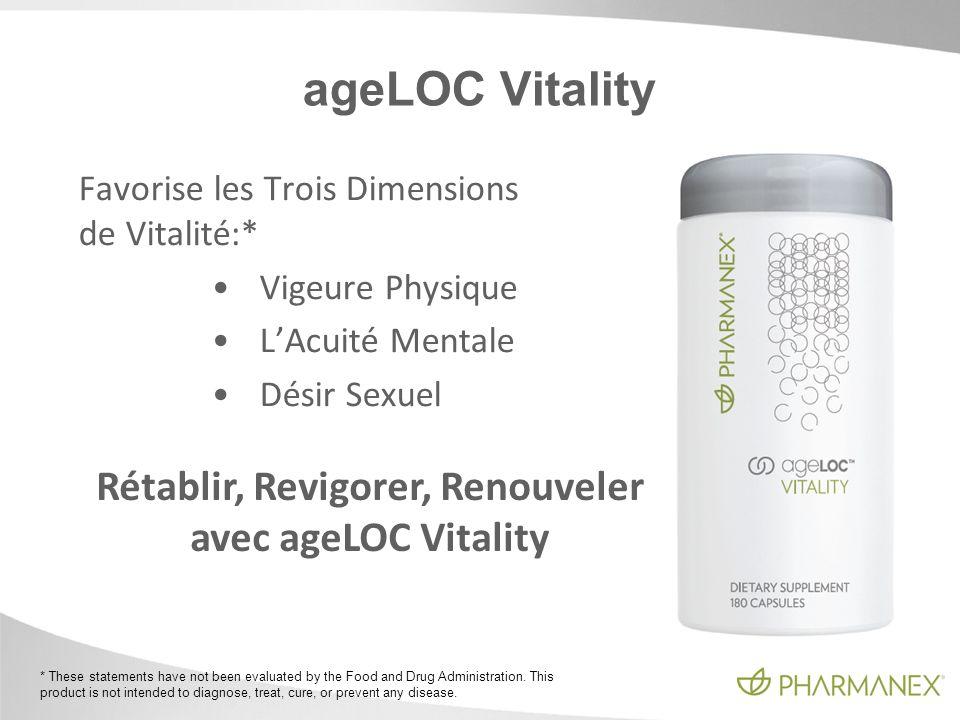 ageLOC Vitality Favorise les Trois Dimensions de Vitalité:* Vigeure Physique LAcuité Mentale Désir Sexuel Rétablir, Revigorer, Renouveler avec ageLOC