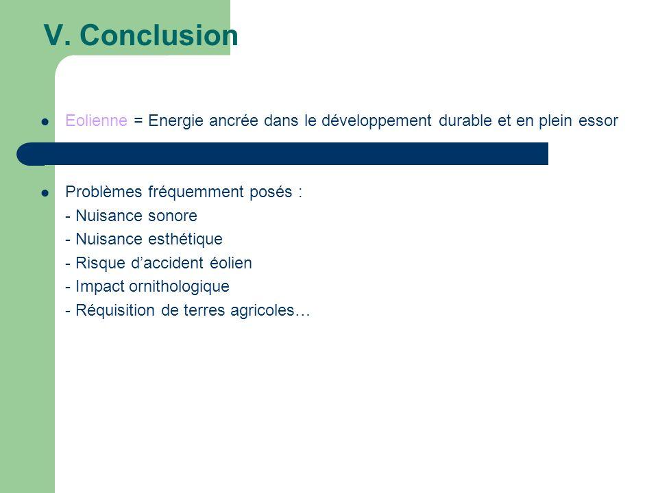 V. Conclusion Eolienne = Energie ancrée dans le développement durable et en plein essor Problèmes fréquemment posés : - Nuisance sonore - Nuisance est