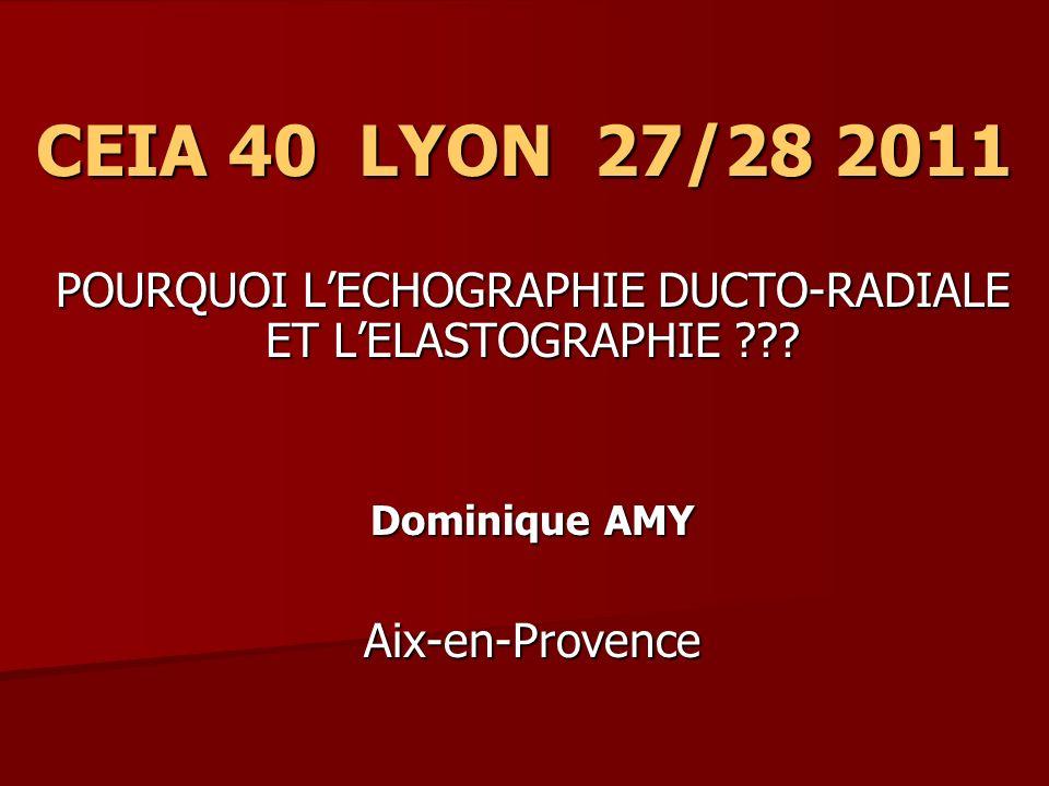 CEIA 40 LYON 27/28 2011 POURQUOI LECHOGRAPHIE DUCTO-RADIALE ET LELASTOGRAPHIE ??? Dominique AMY Aix-en-Provence
