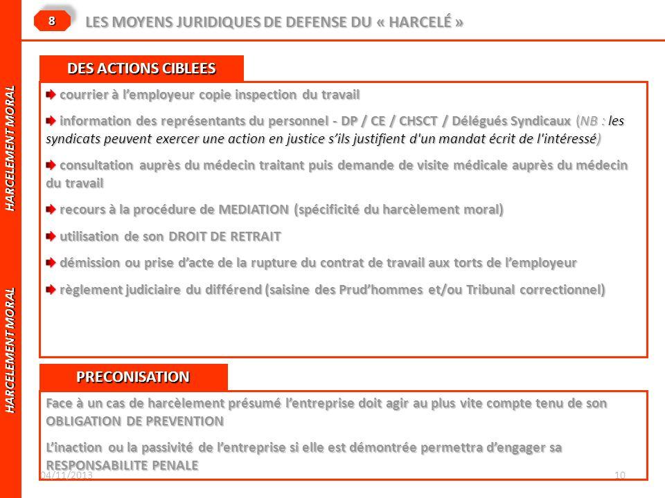 HARCELEMENT MORAL HARCELEMENT MORAL LES MOYENS JURIDIQUES DE DEFENSE DU « HARCELÉ » 88 courrier à lemployeur copie inspection du travail courrier à le