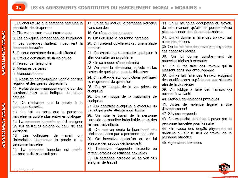 HARCELEMENT MORAL HARCELEMENT MORAL LES 45 AGISSEMENTS CONSTITUTIFS DU HARCELEMENT MORAL « MOBBING » 1111 1. Le chef refuse à la personne harcelée la