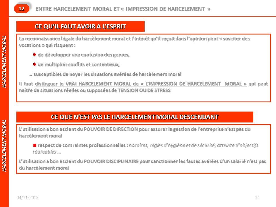 HARCELEMENT MORAL HARCELEMENT MORAL 1212 ENTRE HARCELEMENT MORAL ET « IMPRESSION DE HARCELEMENT » La reconnaissance légale du harcèlement moral et lin