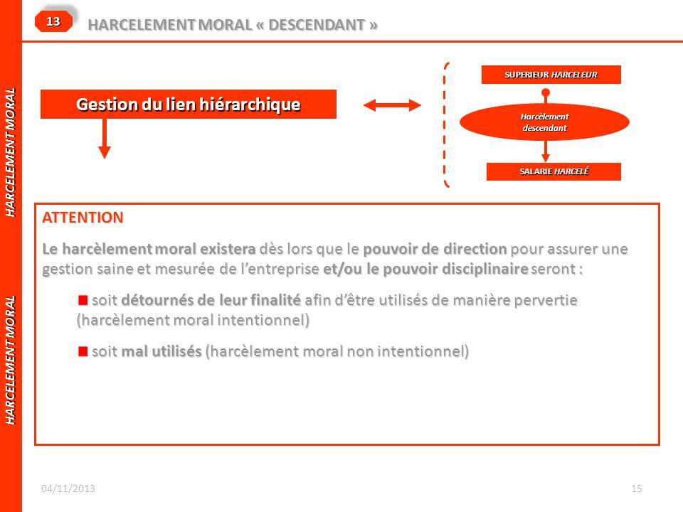 HARCELEMENT MORAL HARCELEMENT MORAL 1313 HARCELEMENT MORAL « DESCENDANT » ATTENTION Le harcèlement moral existera dès lors que le pouvoir de direction