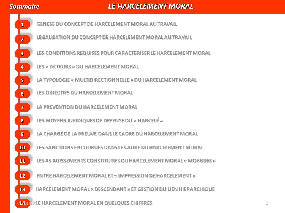 Sommaire LE HARCELEMENT MORAL Sommaire LE HARCELEMENT MORAL GENESE DU CONCEPT DE HARCELEMENT MORAL AU TRAVAIL 11 LEGALISATION DU CONCEPT DE HARCELEMEN