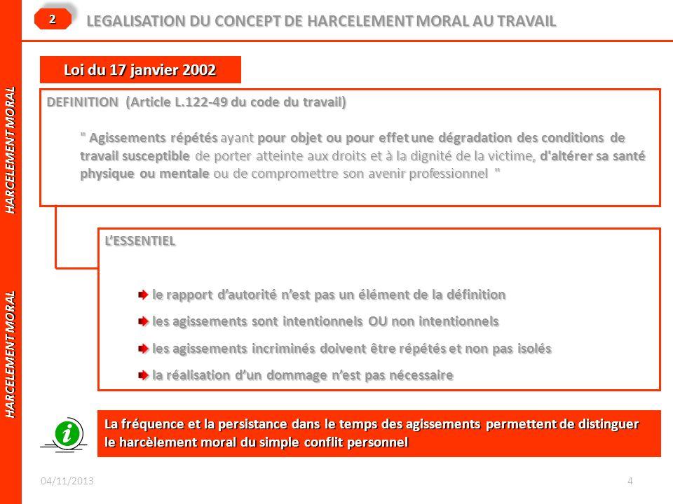 HARCELEMENT MORAL HARCELEMENT MORAL LEGALISATION DU CONCEPT DE HARCELEMENT MORAL AU TRAVAIL 22 DEFINITION (Article L.122-49 du code du travail)