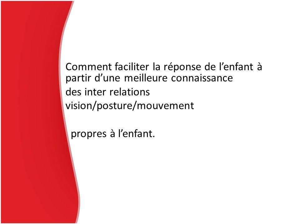 Comment faciliter la réponse de lenfant à partir dune meilleure connaissance des inter relations vision/posture/mouvement propres à lenfant.