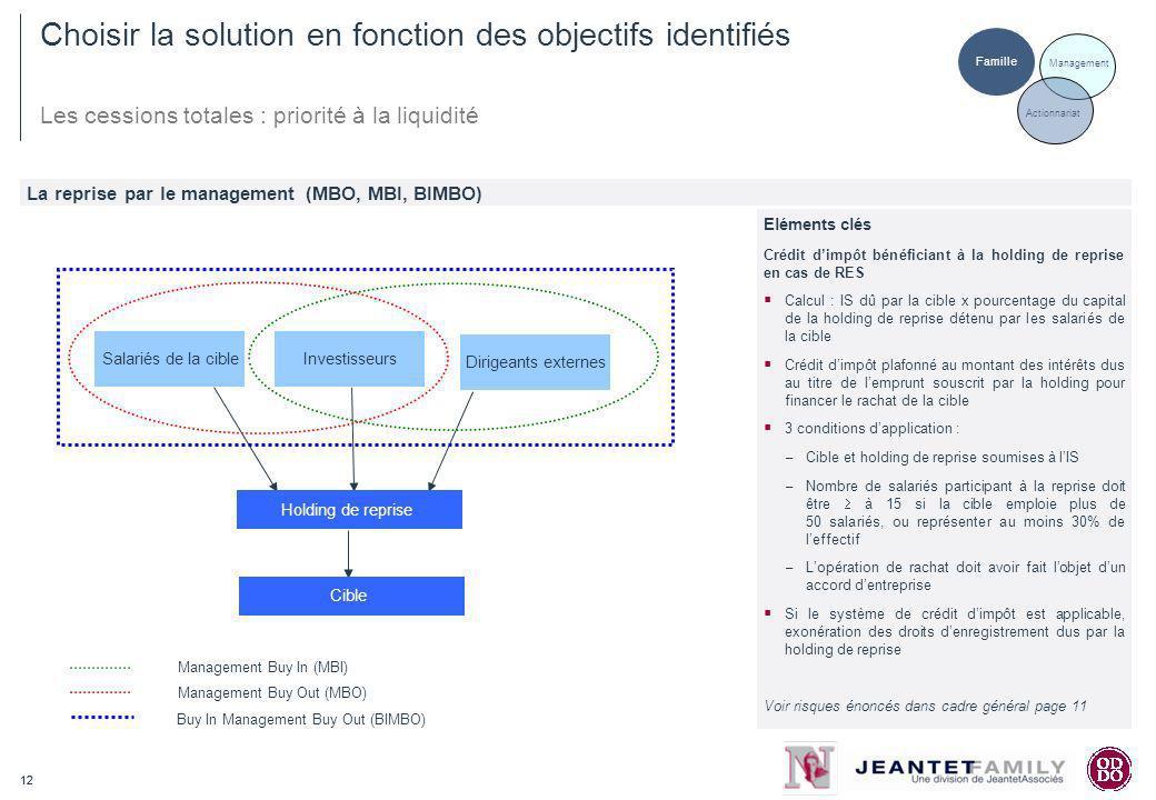 12 Choisir la solution en fonction des objectifs identifiés Les cessions totales : priorité à la liquidité La reprise par le management (MBO, MBI, BIM