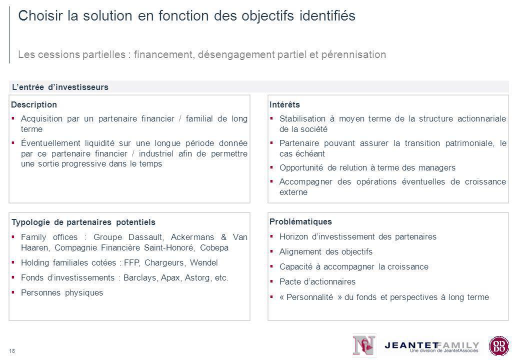 16 Choisir la solution en fonction des objectifs identifiés Les cessions partielles : financement, désengagement partiel et pérennisation Lentrée dinv