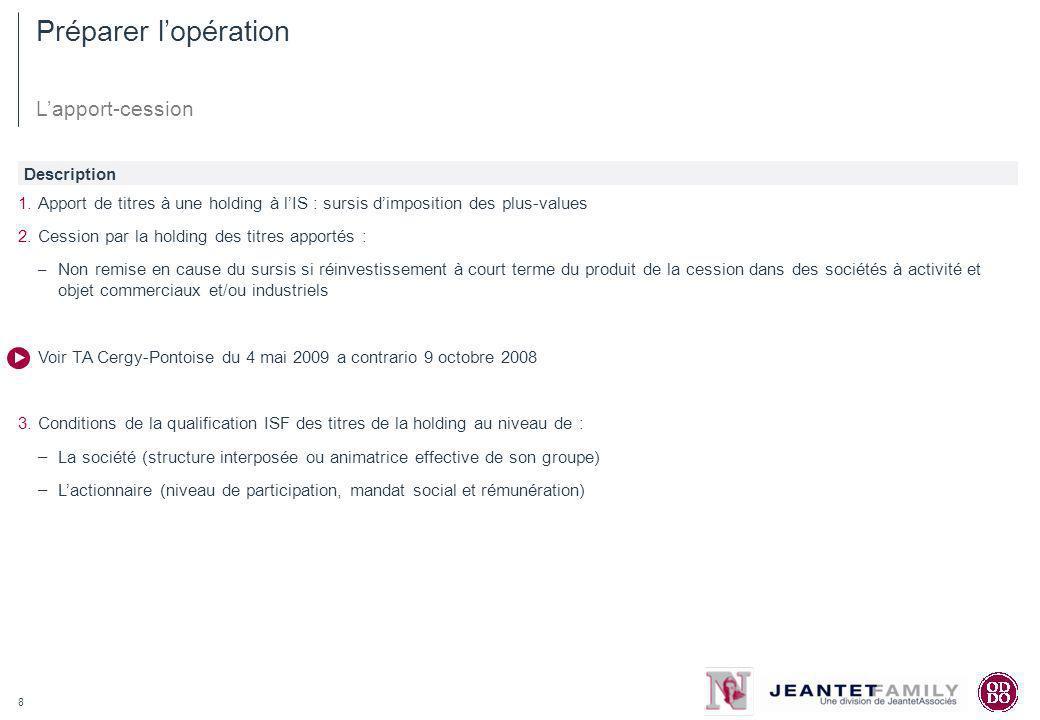 8 Préparer lopération Lapport-cession 1.Apport de titres à une holding à lIS : sursis dimposition des plus-values 2.Cession par la holding des titres
