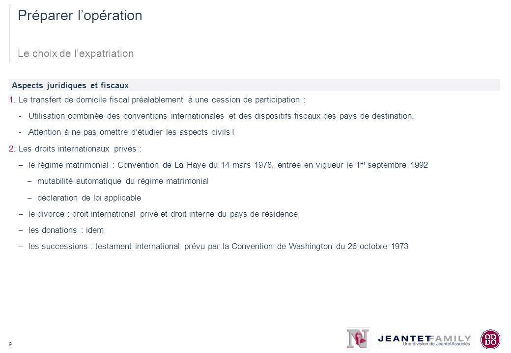 9 Préparer lopération Le choix de lexpatriation 1.Le transfert de domicile fiscal préalablement à une cession de participation : -Utilisation combinée