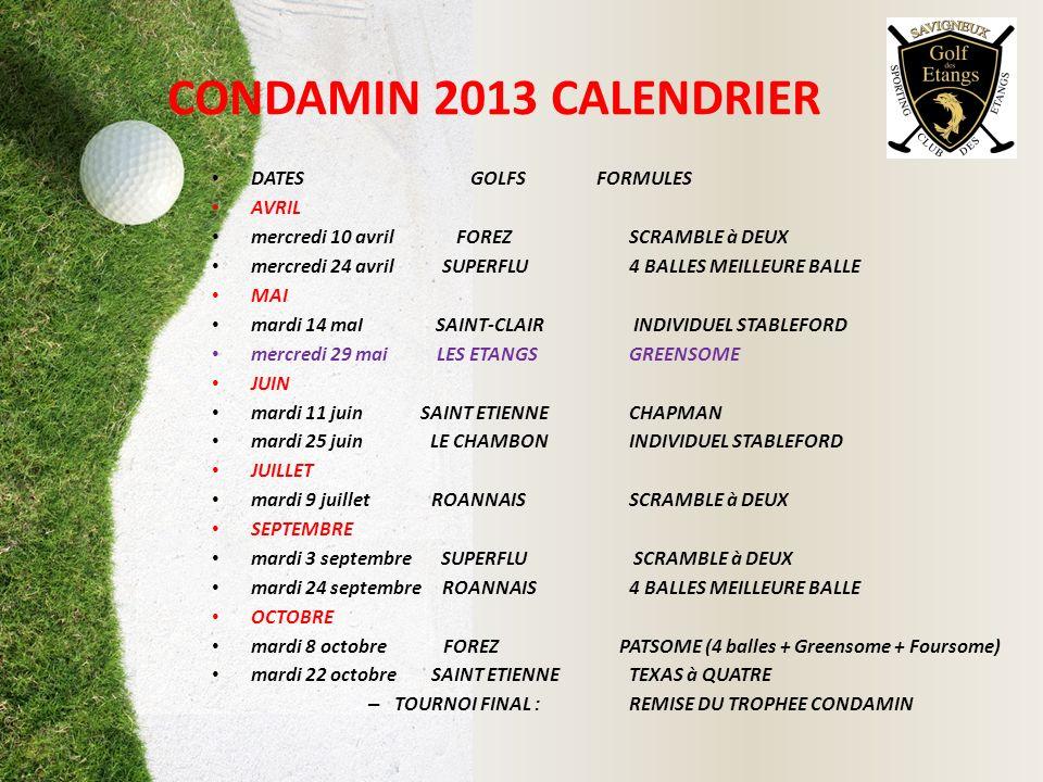 CONDAMIN 2013 CALENDRIER DATES GOLFS FORMULES AVRIL mercredi 10 avril FOREZ SCRAMBLE à DEUX mercredi 24 avril SUPERFLU 4 BALLES MEILLEURE BALLE MAI ma