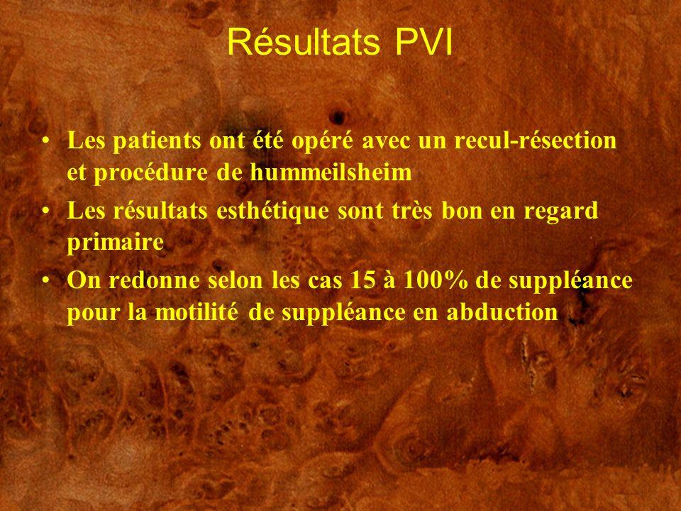 Résultats PVI Les patients ont été opéré avec un recul-résection et procédure de hummeilsheim Les résultats esthétique sont très bon en regard primair