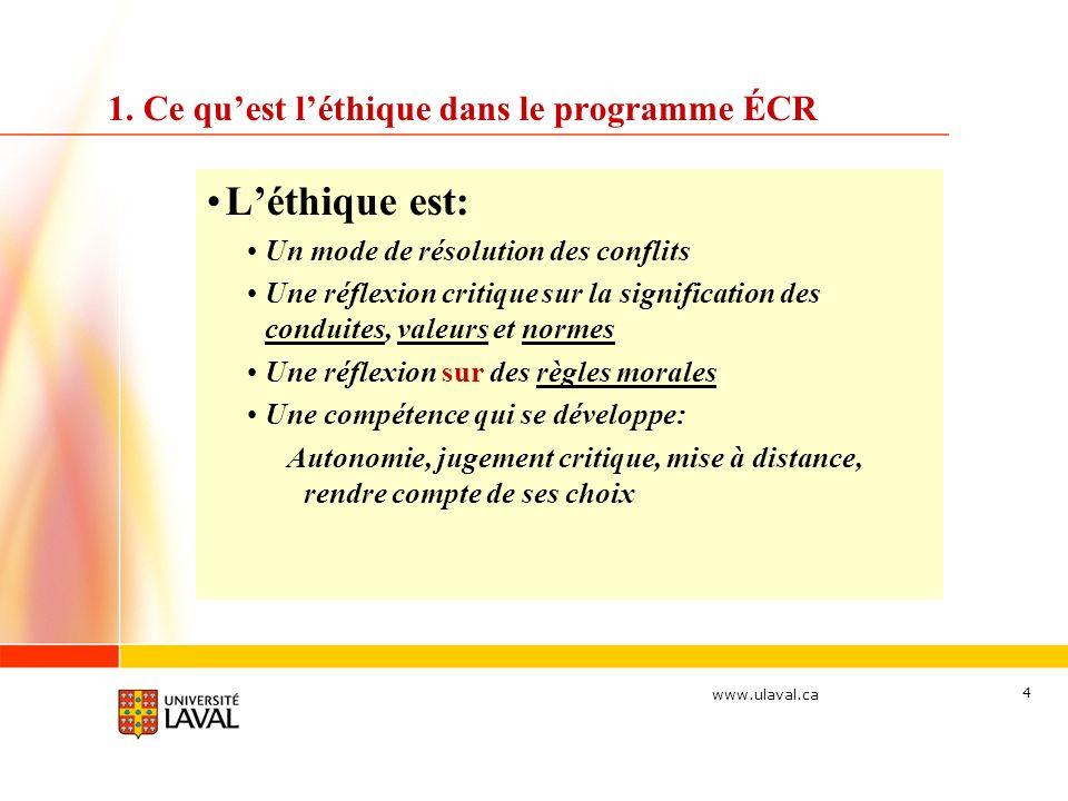 www.ulaval.ca 4 1. Ce quest léthique dans le programme ÉCR Léthique est: Un mode de résolution des conflits Une réflexion critique sur la significatio
