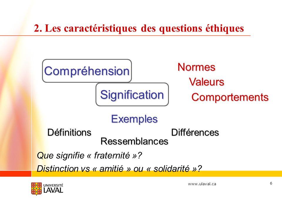 www.ulaval.ca 6 2. Les caractéristiques des questions éthiques Compréhension Comportements Normes Valeurs Exemples Que signifie « fraternité »? Distin