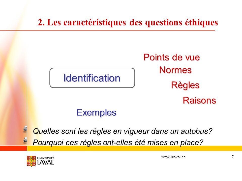 www.ulaval.ca 7 Identification Règles Points de vue Normes Exemples Quelles sont les règles en vigueur dans un autobus? Pourquoi ces règles ont-elles