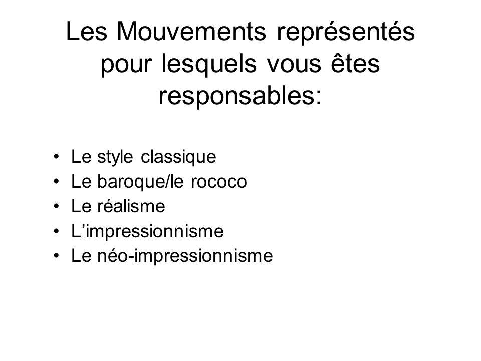 Les Mouvements représentés pour lesquels vous êtes responsables: Le style classique Le baroque/le rococo Le réalisme Limpressionnisme Le néo-impressio