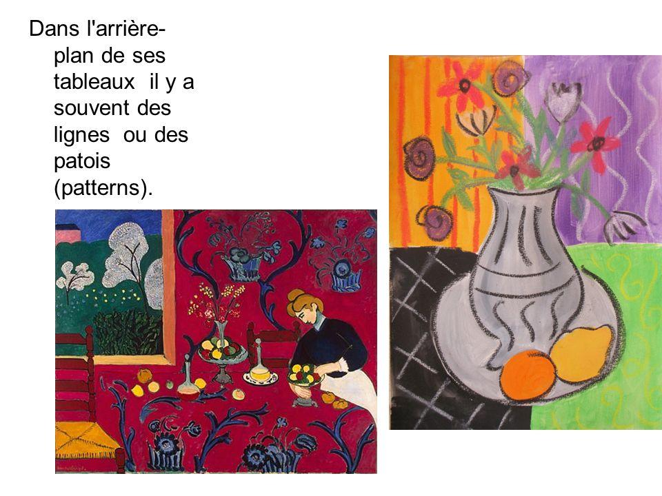 Dans l'arrière- plan de ses tableaux il y a souvent des lignes ou des patois (patterns).