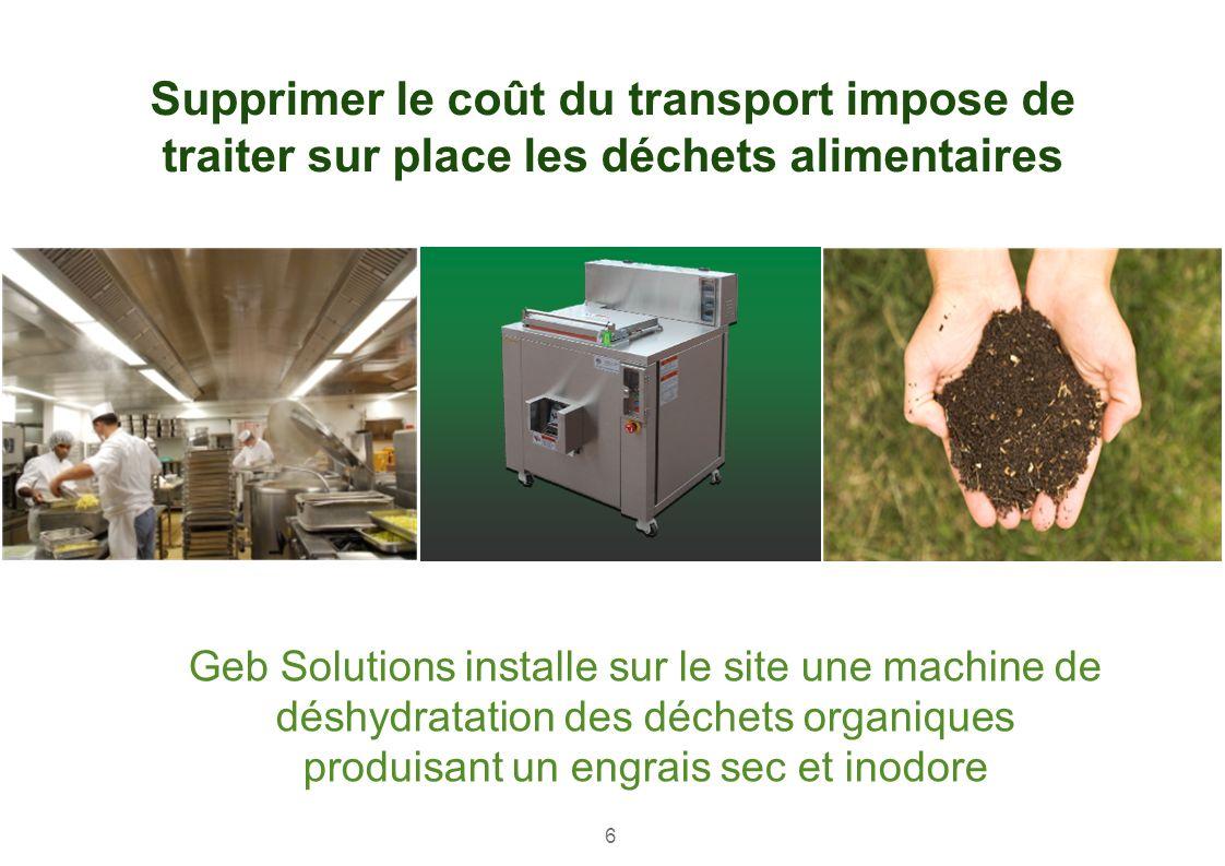 Geb Solutions installe sur le site une machine de déshydratation des déchets organiques produisant un engrais sec et inodore Supprimer le coût du tran