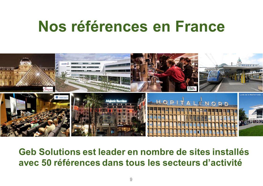 Geb Solutions est leader en nombre de sites installés avec 50 références dans tous les secteurs dactivité Nos références en France 9