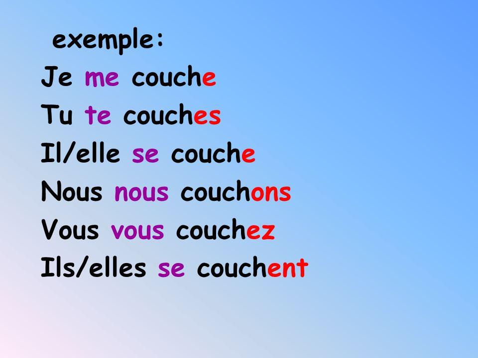 Verbes réfléchis au Présent Se réveiller to wake up Se lever to get up Se laver to get washed Se doucher to shower Shabiller to get dressed