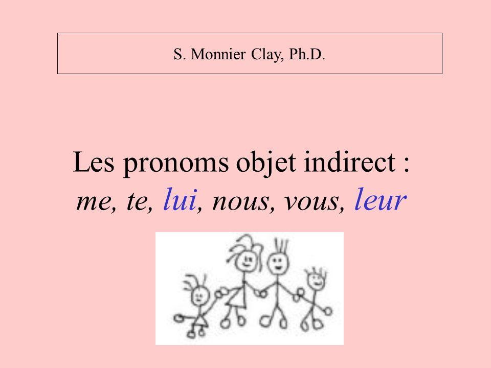 Les pronoms objet indirect : me, te, lui, nous, vous, leur S. Monnier Clay, Ph.D.