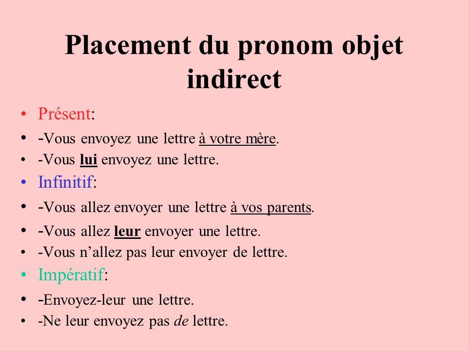Placement du pronom objet indirect Présent: - Vous envoyez une lettre à votre mère. -Vous lui envoyez une lettre. Infinitif: - Vous allez envoyer une