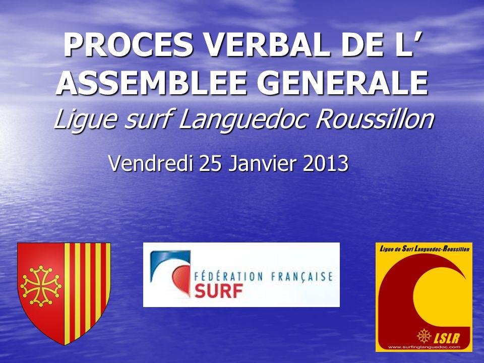PROCES VERBAL DE L ASSEMBLEE GENERALE Ligue surf Languedoc Roussillon Vendredi 25 Janvier 2013