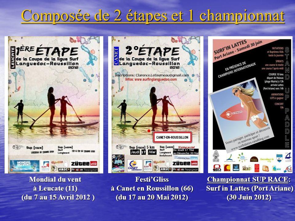 Composée de 2 étapes et 1 championnat Mondial du vent à Leucate (11) (du 7 au 15 Avril 2012 ) (du 7 au 15 Avril 2012 )FestiGliss à Canet en Roussillon