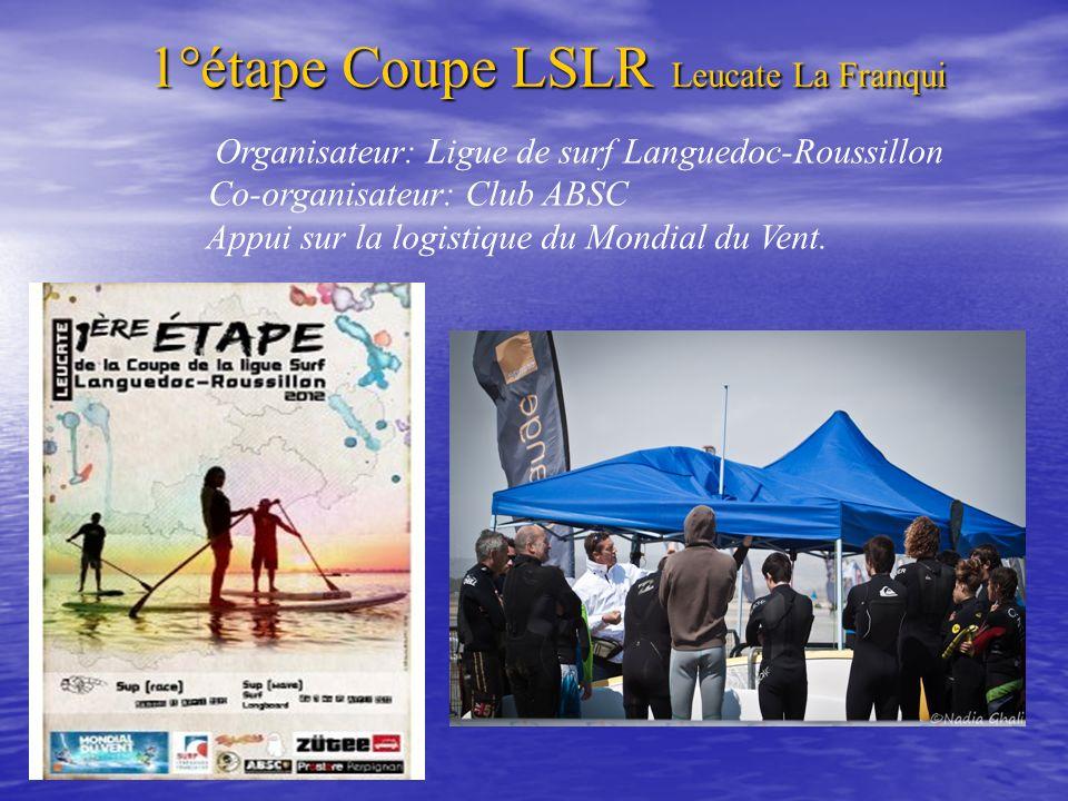 1°étape Coupe LSLR Leucate La Franqui Organisateur: Ligue de surf Languedoc-Roussillon Co-organisateur: Club ABSC Appui sur la logistique du Mondial d