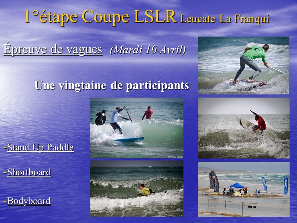 Épreuve de vagues (Mardi 10 Avril) Une vingtaine de participants Une vingtaine de participants - Stand Up Paddle - Shortboard - Bodyboard 1°étape Coup