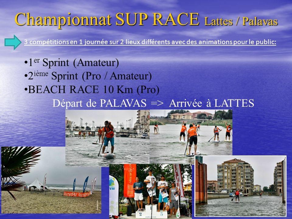 Championnat SUP RACE Lattes / Palavas SUP BEACH RACE 10km Classement BEACH RACE OPEN (10 km) TEMPS 1 er Gaëtan Senet 1h04 / 10 sec.