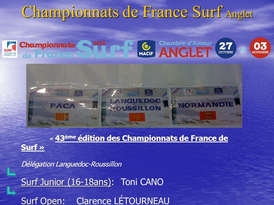 « 43 ème édition des Championnats de France de Surf » Délégation Languedoc-Roussillon Surf Junior (16-18ans): Surf Junior (16-18ans): Toni CANO Surf O