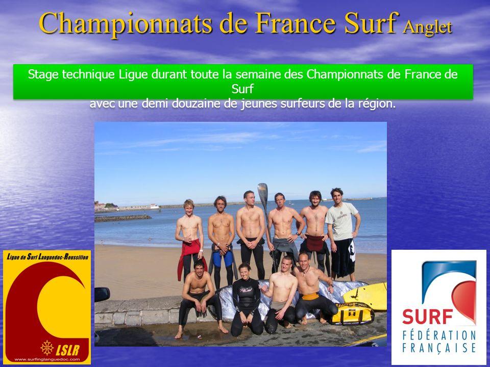 Championnats de France Surf Anglet Stage technique Ligue durant toute la semaine des Championnats de France de Surf avec une demi douzaine de jeunes s