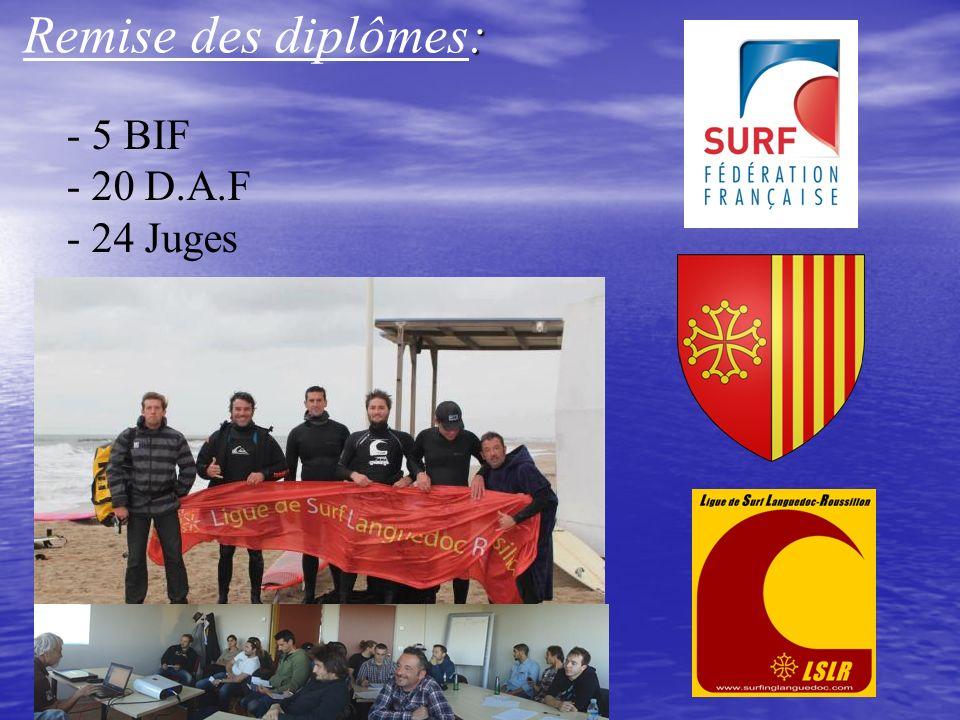 : Remise des diplômes: - 5 BIF - 20 D.A.F - 24 Juges