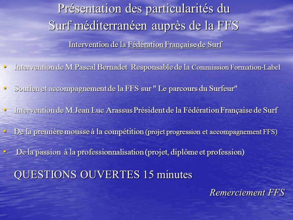 Présentation des particularités du Surf méditerranéen auprès de la FFS Intervention de la Fédération Française de Surf Intervention de la Fédération F