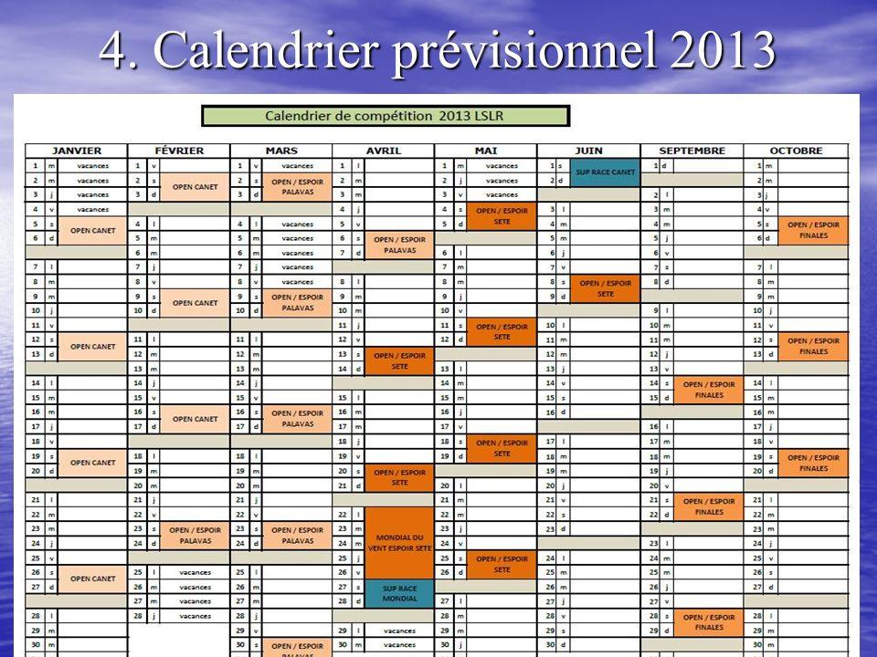 4. Calendrier prévisionnel 2013