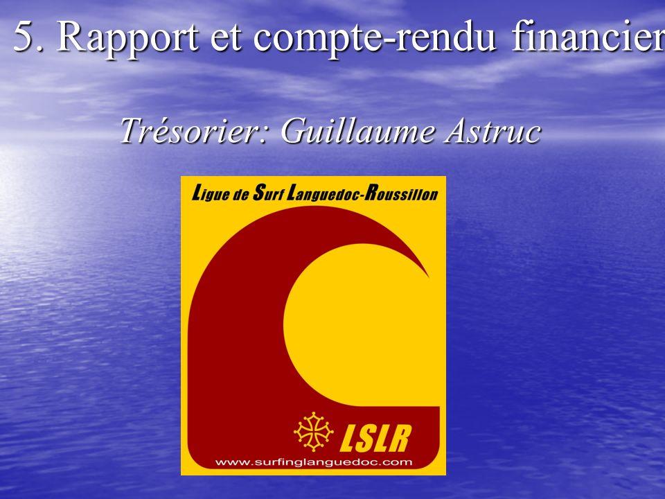 5. Rapport et compte-rendu financier Trésorier: Guillaume Astruc Trésorier: Guillaume Astruc