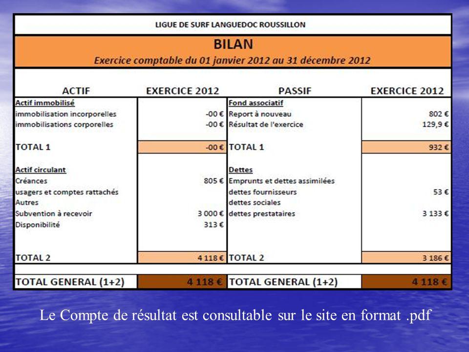 Le Compte de résultat est consultable sur le site en format.pdf
