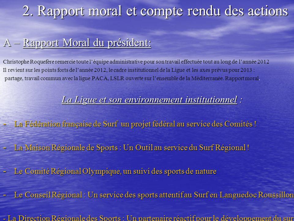 2. Rapport moral et compte rendu des actions A – Rapport Moral du président: Christophe Roquefère remercie toute léquipe administrative pour son trava
