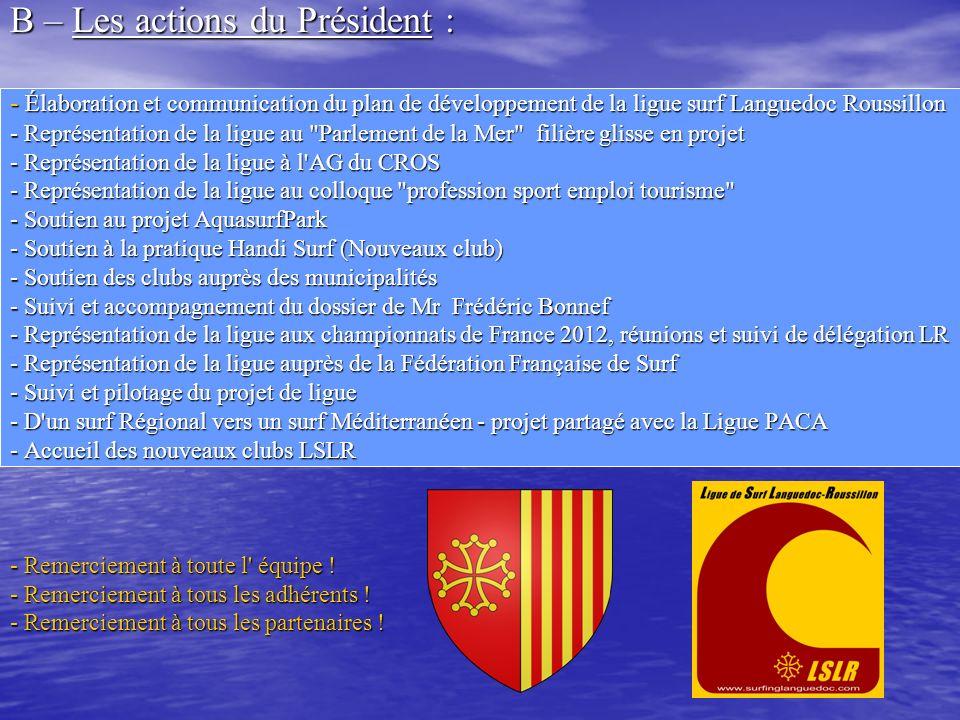 B – Les actions du Président : - Élaboration et communication du plan de développement de la ligue surf Languedoc Roussillon - Représentation de la li