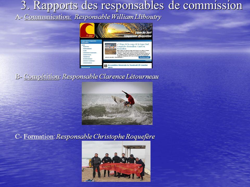 3. Rapports des responsables de commission A- Communication: Responsable William Lliboutry B- Compétition: Responsable Clarence Létourneau : Responsab